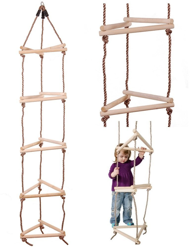 Climbing : Wooden Triangular Rope Ladder - 15 Rung 3 Sided