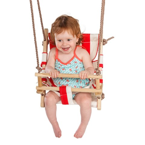 Wooden Secure Canvas Hanging Swing Seat Hammock Toy with Safety Belt for Infant to Toddler Indoor and Outdoor Baby Seat Playground