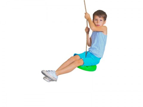 disc button single swing with rope and hanger for kids flower shaped
