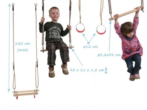 set trapeze swing seat gym rings wooden